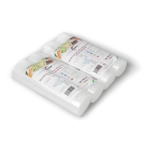 Wimex 4 Vakuumrollen 20x600cm (24 Meter) | BPA Free | Sous Vide geeignet | stabile Schweißnaht | Für alle Balken Vakuumierer geeignet | Vakuumrollen | Made in Italy