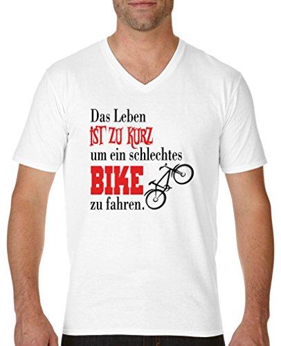 Comedy Shirts - Das Leben ist zu kurz um EIN schlechtes Bike zu Fahren - Herren V-Neck T-Shirt - Weiss/Schwarz-Rot Gr. S