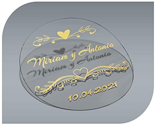 Pegatinas Personalizadas Transparentes con Nombre y Fecha, Etiquetas Adhesivas para Invitacion Boda, Bautizo, Compromiso, Comunion, Cumpleaños, Fiesta, Vintage, Sellos (Modelo 6)