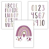 Pandawal Kinderzimmer Deko Baby Bilder 3er Set Alphabet Zahlen Regenbogen Lernposter für Babyzimmer Mädchen und Junge Poster DIN A4 Pink (R10)
