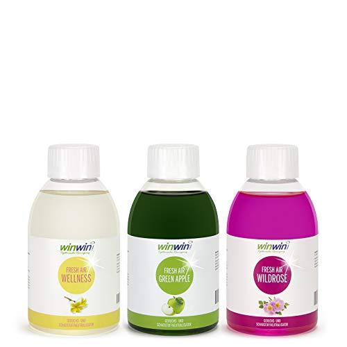 winwin clean Systemische Reinigung - 3ER Set 250ML I Fresh AIR LUFTREINIGUNGS-Konzentrat I Wellness I WILDROSE I Green Apple I € 37,37/L