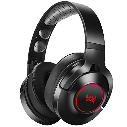 Headset PS4, Gaming Headset für Xbox One, Nintendo Switch, PC, 7.1 Bass Surround Wireless Bluetooth Headset, Kabel Gaming Kopfhörer mit Noise Cancelling Mik, Drehbar Ear Cups, LED Licht - Rot
