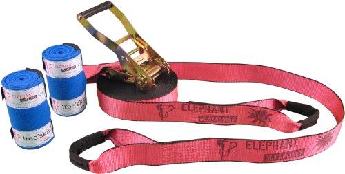 Rookie Flashline inkl. Baumschutz, Pink, 15 m, 12,5m Slacklineband + 2,5 m Ratschenband, *Made in Germany* Breite 50mm