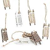 Logbuch-Verlag 8 pequeños trineo con cuerda para colgar, color marrón y blanco natural, vintage, decoración navideña como decoración para árbol de Navidad y colgante de regalo