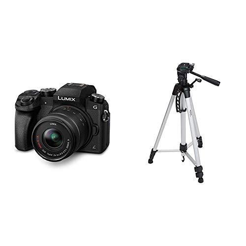 Panasonic LUMIX G DMC-G70KAEGK Systemkamera & Amazon Basics Leichtes Stativ, bis 1,52 m, inkl. Tasche, mit 3-Wege-Schwenkkopf und Wasserwaage