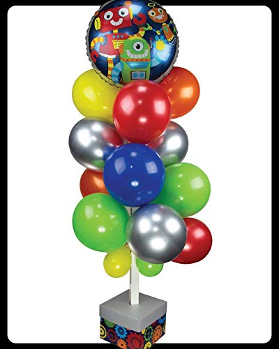 Balloon It Yourself! Party Robots Balloon Stand Decoration. All-in-one Complete DIY Kit.