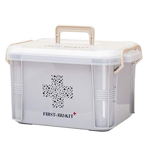 LLDKA Caja portátil hogar Grande Kit de Salud de la Familia de Primeros Auxilios Kit Multi farmacéutica Caja de la Medicina Médicos Kit2019,Gris,Small