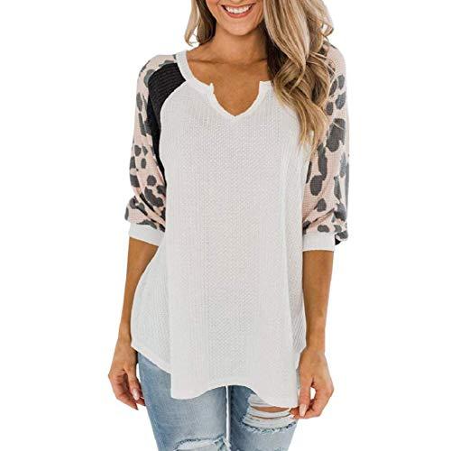 H&E Womens V Neck Raglan Sleeve Leopard Print Tops Autumn Waffle T-Shirt Blouse White...
