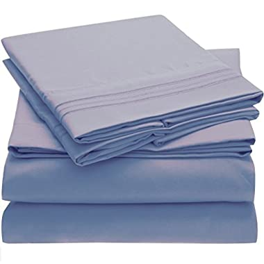 Harmony Linens Bed Sheet Set - 1800 Double Brushed Microfiber Bedding - Deep Pocket, Hypoallergenic - Wrinkle, Fade, Stain Resistant Sheets - 4 Piece (Queen, Blue Hydrangea)