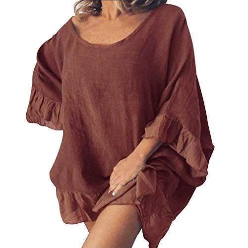 Damen Freizeit kleider,Langarm Loose Kleid blusenkleid Normallack-langes gekräuseltes Volant-Hülsen-Oansatz-beiläufiges Kleid S-XXL