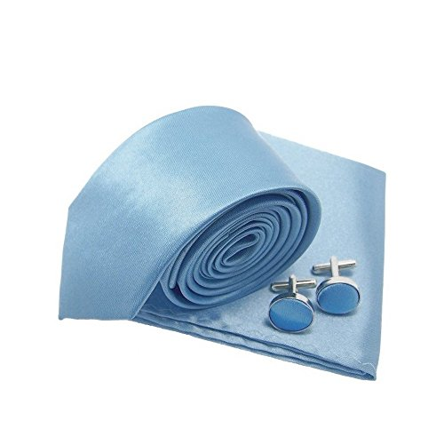 Cravate slim bleu-ciel, pochette-mouchoir et boutons de manchette