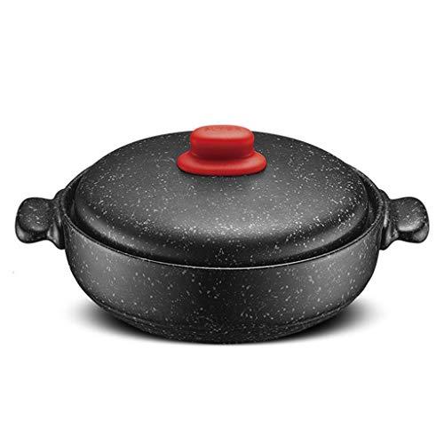 weiwei Cocotte en Pierre de Granit antiadhésive Grande marmite en Granit Batterie de Cuisine en céramique marmite à Soupe résistante à la Chaleur Casserole avec Couvercle marmite à ragoût Lent