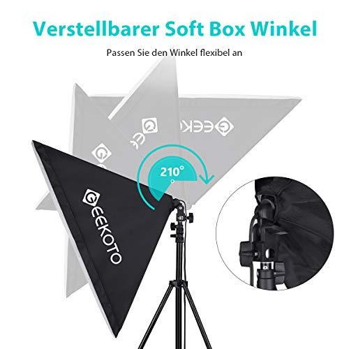 GEEKOTO Softbox Set Fotostudio 50 x 70cm, Dauerlicht Studioleuchte Set mit 2 Softboxlampen E27 85W 5500K, 2m Vollverstellbare Lichtstative für Studio-Porträts, Produktfotografie, Modefotos, usw. - 6