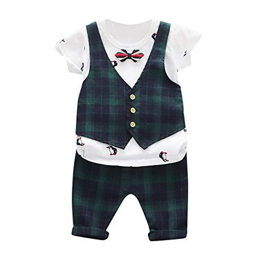 Anglewolf Baby Jungen Sommer-Set zweiteilig Kurzarm T-Shirt mit Short ideales Strand-Outfit, T-Shirt mit KURZER Hose in Baumwollmischung Farbe Weiß 2-7 Jahre(A Grün,100/L)