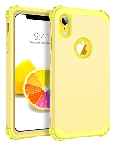 BENTOBEN iPhone XR Case, iPhone XR Phone Case, 3 in 1 Heavy Duty Rugged Hybrid Solid Hard PC Cover Soft Silicone Bumper Impact Resistant Shockproof Protective Case for Apple iPhone XR, Yellow Lemon