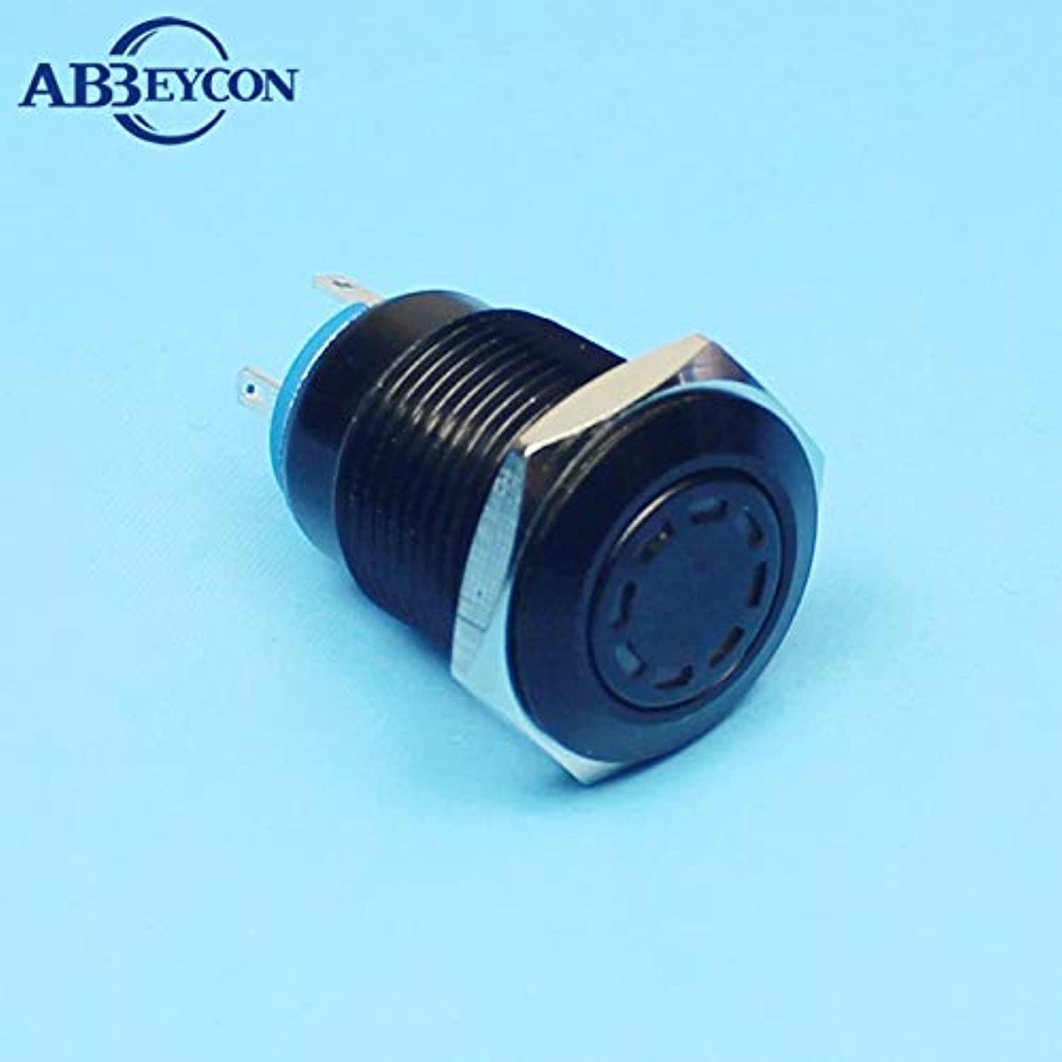 1686 IP67 1NO Flat Round AntiVandal DD multipoint LED Illuminated Black Metal Button High Quality Switch  (color  12V blueee LED)