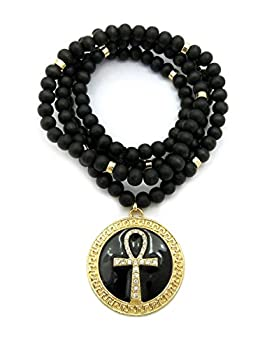 Shiny Jewelers USA Mens Gold Silver Egyptian Ankh Cross Round Pendant Charm 36  Wood Bead Chain Necklace  Gold