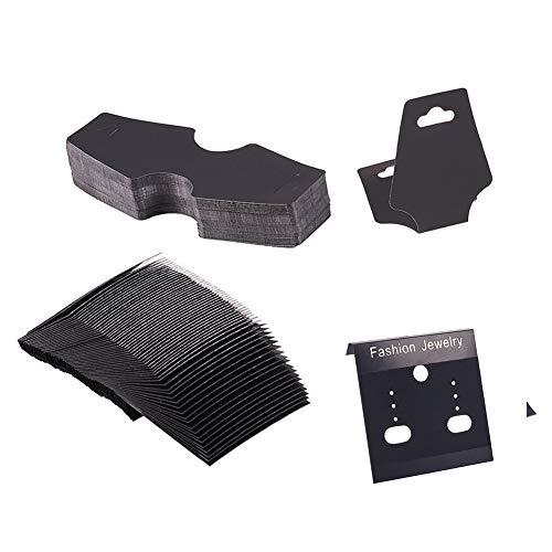 PandaHall Elite 200 STK. 2 STK. Plastikschmuck-Displaykarten-Kit, einschließlich 100 STK. Ohrring-Displaykarten-Halsketten-Faltblätter für Schmuckzubehör-Display, schwarz