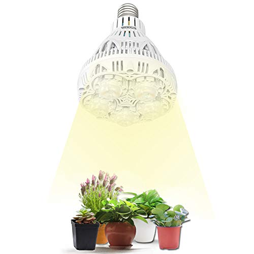 SANSI LED Pflanzenlampe Vollspektrum E27 24W LED Grow Light, Pflanzenlicht für Zimmerpflanzen LED Grow Lampe Wachstumslampe für Garten, Blumen, Gemüse, Obst, Hydroponik