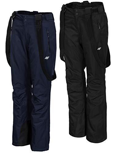 4F Damen Skihose | wasserdichte Snowboardhose | Schneehose für Piste Ski | Winterhose mit Kantenschutz | Abnehmbare Träger | Wassersäule 5.000mm (Dunkelblau, M)