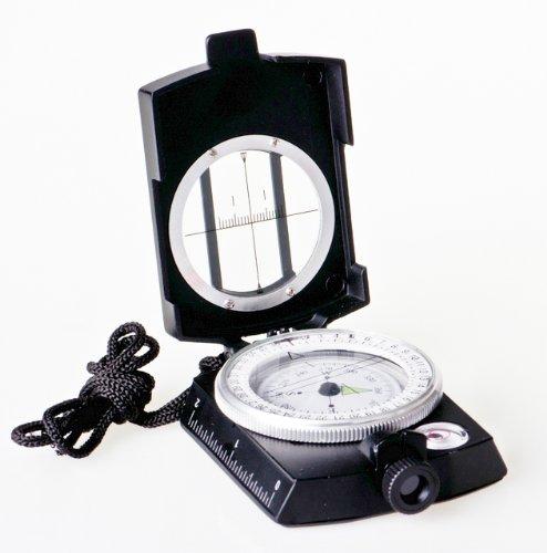 Huntington Kompass MG1 Black Militär Marschkompass/Peilkompass Premium Qualität - professionell flüssigkeitsgedämpft, Metallgehäuse mit Prisma-Linsensystem, mattschwarz (K4580-02 DE)