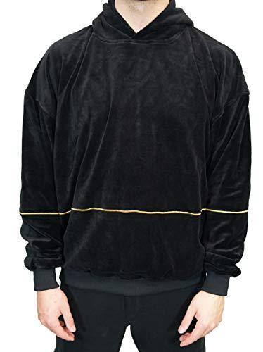 Deadstock Velour Hoodie | Kapuzensweater Pullover Kapuzenjacke Jacke (M, Schwarz)