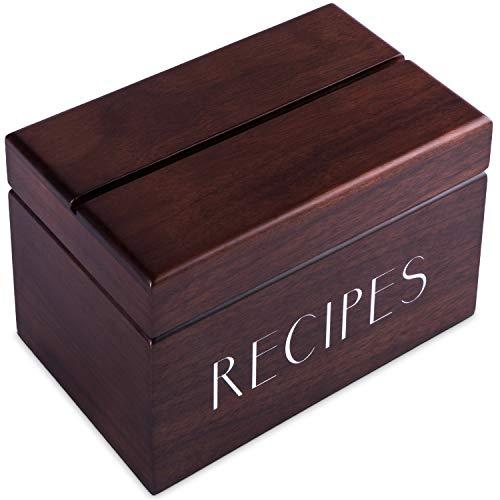 Apace Living Caja de Recetas de Nogal con Tarjetas y separadores de Apace - Caja de Tarjetas de Madera de Estilo Vintage de 4 x 6 con Soporte para Recetas - Exclusivamente de la colección Premier