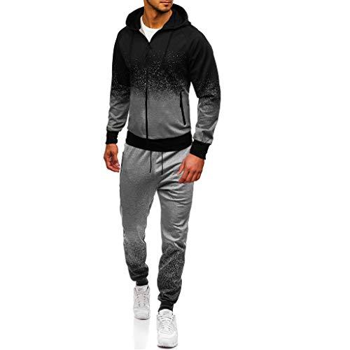 Leegor Men Jogging Tracksuit Sportsuit Sportswear Slim Fit, Hooded Coat Sweat Jacket + Pants Sweatpants Gray