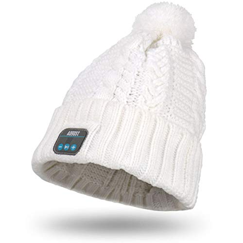August EPA30 – Bluetooth Mütze mit Bommel – Winter Beanie mit Bluetooth Stereo Kopfhörer, Mikrofon, Freisprechen und integriertem Akku – für Damen, Herren, Kinder (Unisex, Einheitsgröße)
