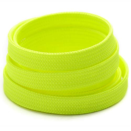Booyckiy [2 Pairs] Flat Shoelaces for Sneakers, 2/5' Wide Shoe Laces Neon Yellow 48 inch(122cm)