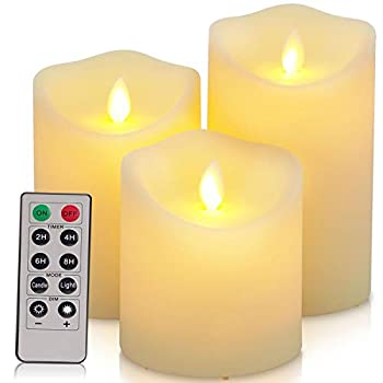 Flickering Flameless Candles Waterproof Outdoor Candles Battery Operated Candles with Remote Cycling 24 Hours Timer(D  3.25 x H  4 5 6 )LED Candles Plastic Pack of 3 Large Pillar Candles