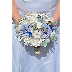 Silk Blooms Ltd Artificial Pale Blue Rose and Real Preserved Cotton Bridal Bouquet w/Anemones and Zinnias