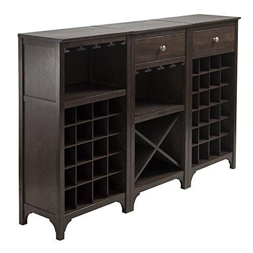 Winsome 3-Piece Ancona Wine Cabinet Modular Set, Black