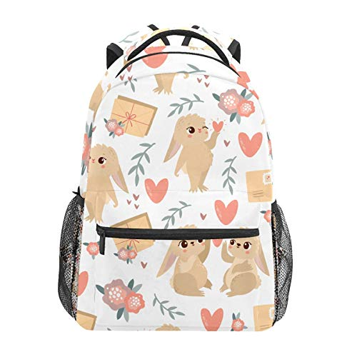 School Backpack Valentine Bunny Lover Rabbit Flower Cute Casual Travel Laptop Daypack Canvas Book Bags for Woman Girls Boys Student Adult Men