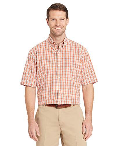 Arrow 1851 Herren Short Sleeve Hamilton Poplin Shirt Hemd mit Button-Down-Kragen, Orange Rost, X-Groß
