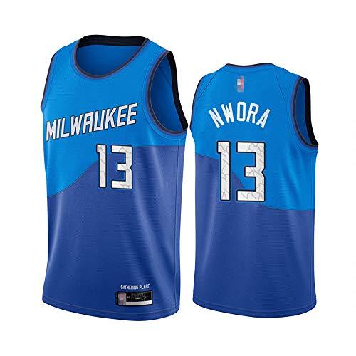 SHR-GCHAO Jersey De Baloncesto Masculino - NBA Milwaukee Bucks # 13 Jordan Nwora Jersey, Fanáticos De Baloncesto Chaleco Sin Mangas De Malla Camiseta Suelta Seca Rápida,Azul,S(165~170cm)
