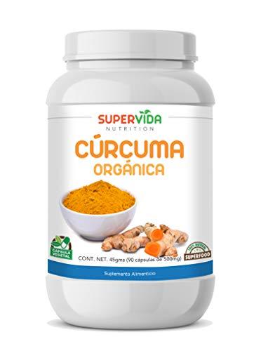 Cúrcuma Orgánica en polvo 90 Cápsulas Vegetales de 500 mg CURCUMA | SuperVida Nutrition - Suplementos 100% Naturales