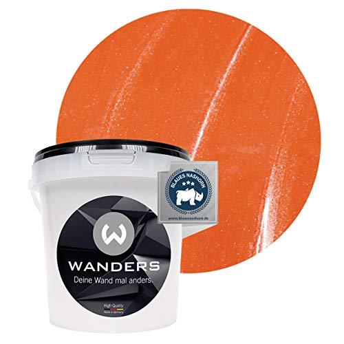 Wanders24® Metall-Optik (1 Liter, Orange) Wandfarbe Metallic - zum Spachteln im Metallic Look - in 17 edlen Farbtönen erhältlich - Made in Germany
