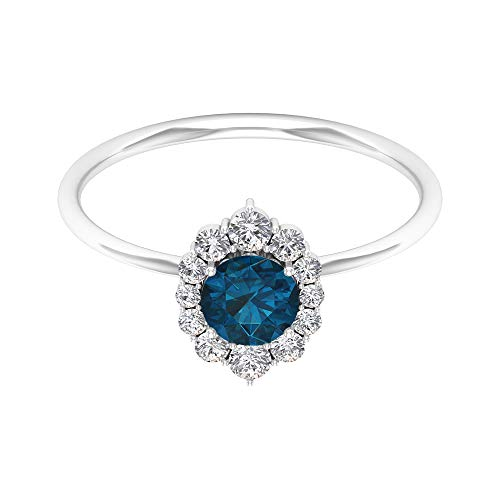 Anillo solitario de topacio azul de Londres de 5,00 mm, anillo de halo de diamantes HI-SI, anillo de oro (calidad AAA), oro blanco, topacio azul - Londres, tamaño: UK V1/2