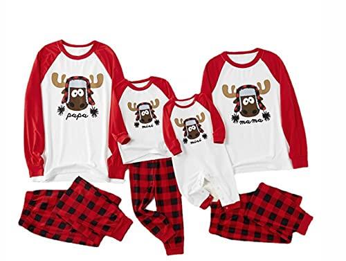Pijamas Dos Piezas Familiares de Navidad,Conjuntos Navideños de Algodón Homewear para Mujeres Hombres Niño Bebé, Ropa para Dormir Otoño Invierno Sudadera Primavera y Otoño Suéter,Men-4XL