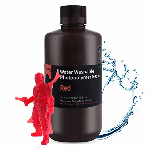 ELEGOO Lavable con Agua Impresora 3D Resina,Resina de Fotopolímero Estándar de Curado UV de 405 nm para Impresora LCD 3D Rojo Claro 1000g