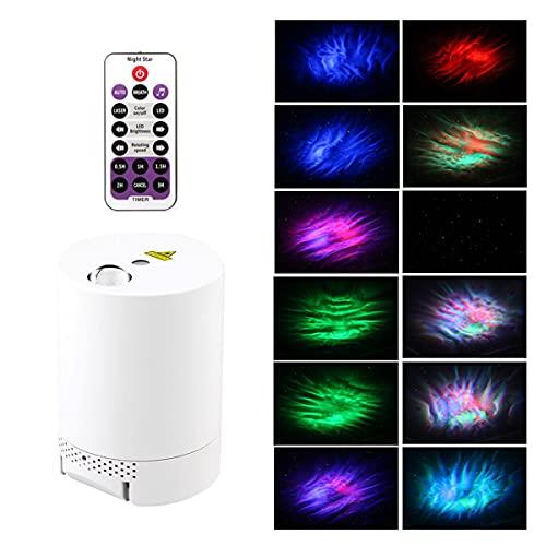 EANSSN Proiettore Stellato Sky, Proiezione della Luce Notturna, Lampada Ondulata dell'Acqua, Rotante A 360 °, con Telecomando Bluetooth, per Camera da Letto, Festa, Arredamento