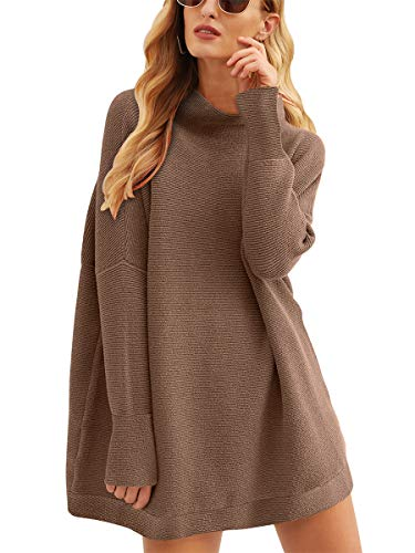 Calbetty Women Turtle Cowl Neck Long Batwing Sleeve Oversized Sweater Casual Loose Slouchy Tunics Brown 27CB7-doukou-L