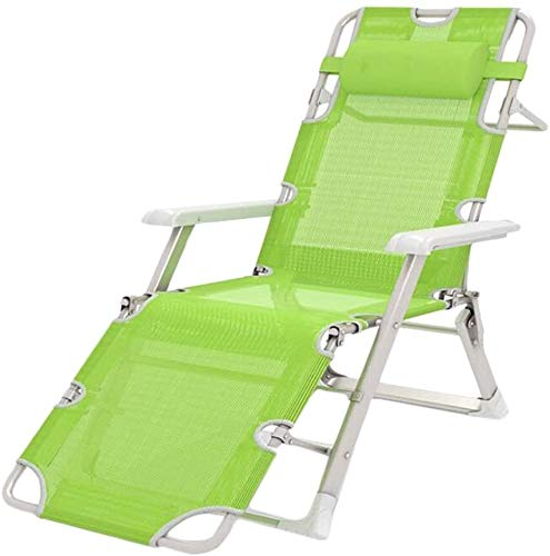 ZYLHC Lounge Chair Reclining Outdoor Folding Chairs Breathable Single folding bed Lounge chair Folding bed Office nap bed Chair couch Comfortable (Color : Green)