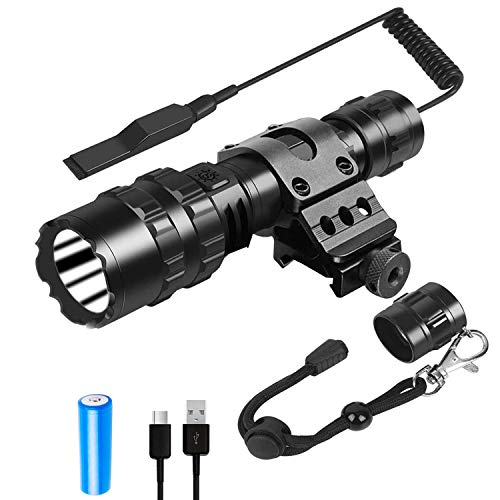 Weitars Tactical Flashlight With Rail Mount, Picatinny Flashlight 1200 Lumen LED Weapon Light, 5 Modes Rifle Light-USB Rechargeable Battery and Pressure Switch Included¡