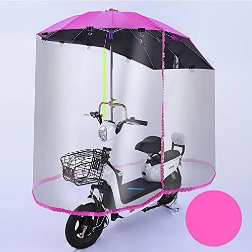 WYB Paraguas de Scooter de Motor Completamente Cerrado Movilidad Parasol y Cubierta de Lluvia Impermeable, Cubierta de Paraguas de Dosel de Coche,Rosado