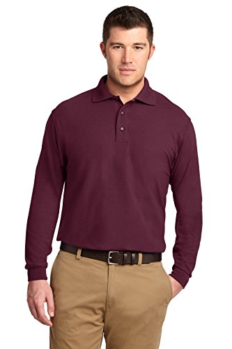 Price comparison product image Port Authority Men's Long Sleeve Silk Touch Polo. M Burgundy
