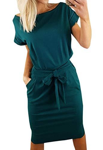 Ajpguot Damen Freizeit Kleid mit Gürtel Elegant Rundhals Midi Kleider Blusenkleider Ballkleid Festkleid Frauen Langarm Tasche Wickelkleider Abendkleider Partykleid (M, Dunkelgrün 1)