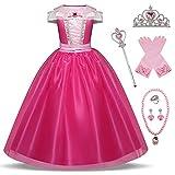 O.AMBW Ropa Niñas Princesa Aurora Disfraz Bella Durmiente Vestido Cosplay Princesa Rosa Disfraces de Fiesta Accesorio de Regalo Navidad Halloween Carnaval Cumpleaños para Niños de 3 a 8 años