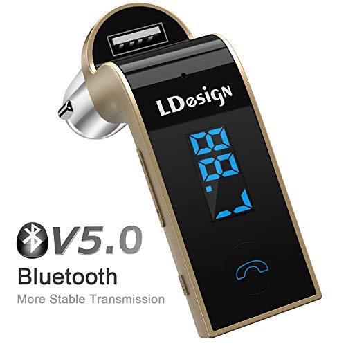 FM Transmitter, LDesign Bluetooth Wireless in-Car FM Radio Adapter Car Kit with Hand Free Call |...